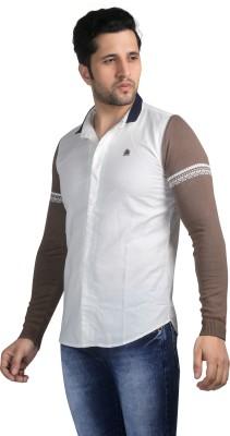 Nostrum Jeans Men's Solid Casual White Shirt