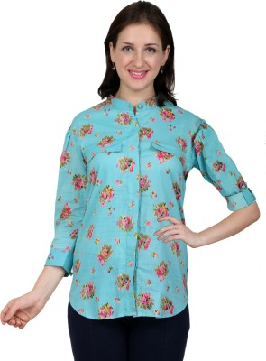 Lamode Women's Floral Print Casual Light Blue Shirt