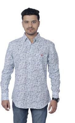 Round Bats Men's Floral Print Casual Blue, Black Shirt