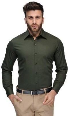 Alian Men's Solid Casual Dark Green Shirt