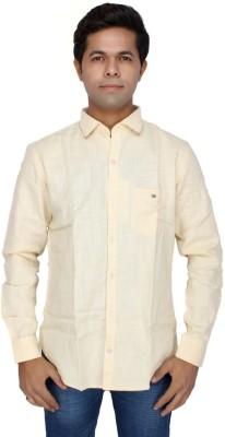 JG FORCEMAN Men's Solid Casual Yellow Shirt