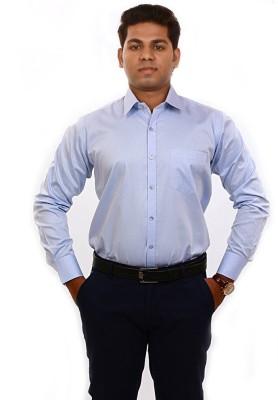 Iconic Men's Self Design Formal Light Blue Shirt