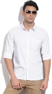 Indian Terrain Men's Solid Casual White Shirt