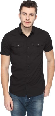 883 Police Men's Solid Casual Black Shirt