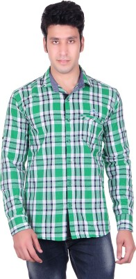 PICKLE Men's Solid, Checkered Formal Green Shirt