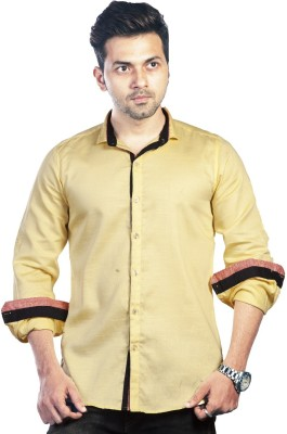 Bombay Casual Jeans Men's Solid Casual, Party Yellow Shirt