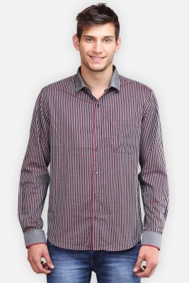 four one oh Men's Striped Formal Red Shirt