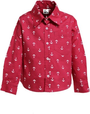 A Little Fable Boy's Printed Party Red Shirt