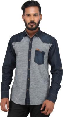 Piazza Italya Men's Harringbone Casual Blue, Grey Shirt