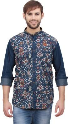 Volume Zero Men's Printed Casual Blue Shirt