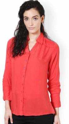 Kaxiaa Women's Solid Casual Maroon Shirt