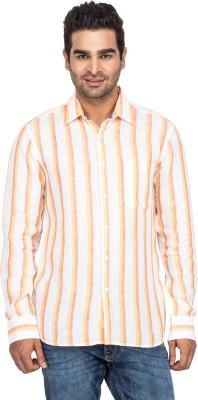 Laven Men's Striped Casual Linen Orange Shirt
