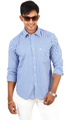 Barrier Reef Men's Checkered Casual White, Light Blue Shirt