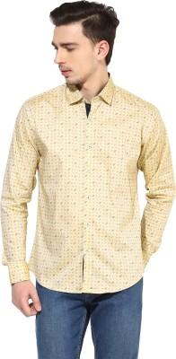 Invern Men's Printed Casual Yellow Shirt