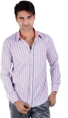 S9 Men's Checkered Casual Blue, Red, White, Black Shirt