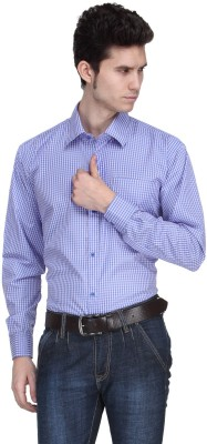Ausy Men's Checkered Formal Pink, Blue Shirt