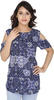 GUGG Women's Self Design Casual Blue Shirt