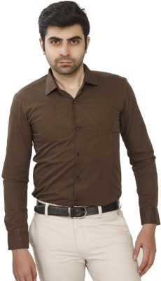 JMD Men's Solid Casual Brown Shirt