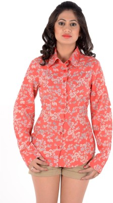 S9 Women's Floral Print Casual Orange, Grey Shirt