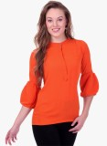 Oxyfash Women's Solid Casual Orange Shir...