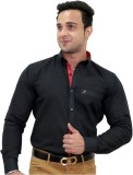 Unixx Men's Solid Formal Black Shirt