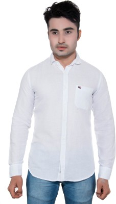 GreyBooze Men's Solid Casual Linen White Shirt
