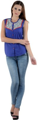 1 For Me Women's Solid Casual Blue Shirt