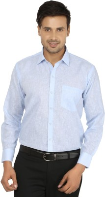 X-Cross Men's Self Design Formal Blue Shirt