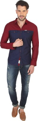 Being Human Men's Solid Casual Red Shirt