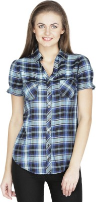 Raaziba Women's Checkered Casual Black Shirt