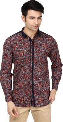 Flakes Fashion Men's Floral Print Party Blue, Red Shirt