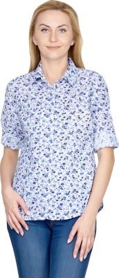 U&F Women's Floral Print Casual Blue Shirt