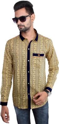 Beyond Imagination Men's Printed Casual Yellow Shirt