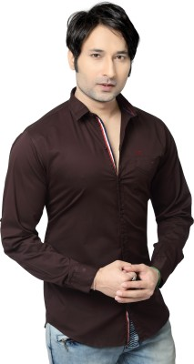 REDOX Men's Solid Casual Brown Shirt