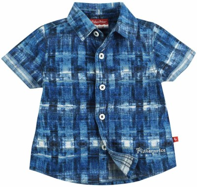 Fisher-Price Boy's Checkered Casual Blue Shirt
