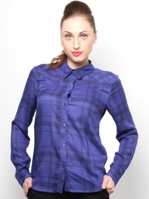 XnY Women's Checkered Formal Blue Shirt