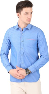 Cotton County Men's Solid Casual Light Blue Shirt