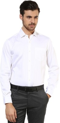 First Row Men's Solid Formal White Shirt