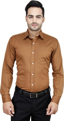 Cotton Clubs Men's Solid Formal Brown Shirt