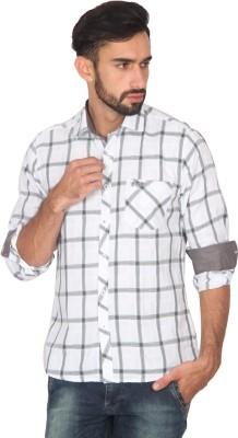 Ashford Brown Men's Checkered Casual White, Black Shirt