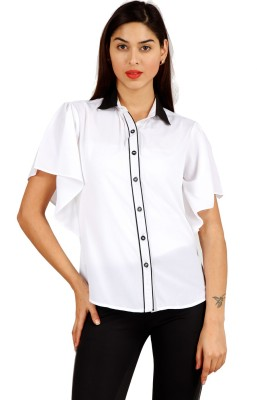 Hermosear Women's Solid Casual White Shirt