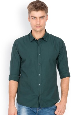 Mode Manor Men's Solid Casual Green Shirt