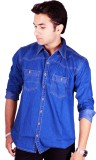 Flutter Men's Solid Casual Blue Shirt
