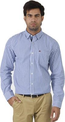 London Fog Men's Striped Formal Blue, White Shirt