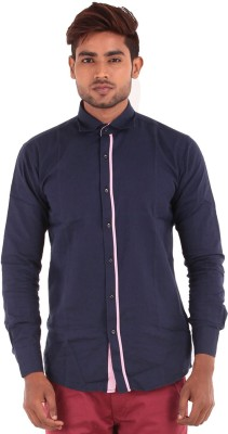 The G Street Men's Striped Casual Dark Blue Shirt