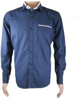 DreamOne Men's Striped Formal Blue Shirt