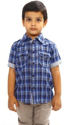Bio Kid Boy's Checkered Casual Dark Blue Shirt