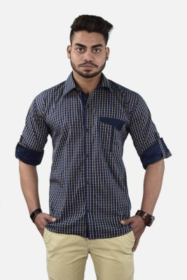 Your Desire Shirts Men,s Checkered Casual Blue, Yellow Shirt