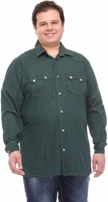 PlusS Men's Solid Casual Green Shirt