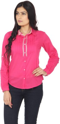 Eighteen4ever Women's Solid Casual Pink Shirt
